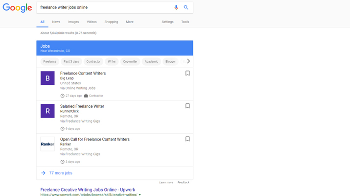 is google helping lancers search for work writer sanctuary