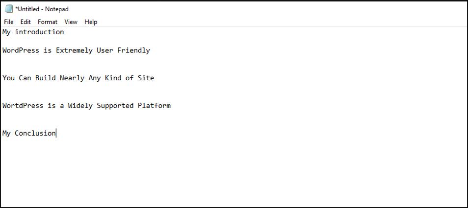 WordPress Example Outline