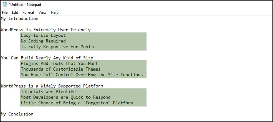 WordPress Outline Sample