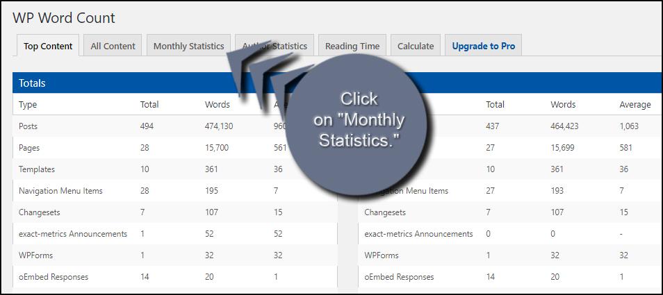 Monthly Statistics Tab