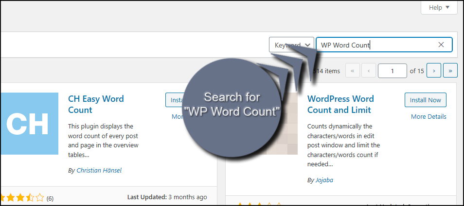 Search WP Word Count
