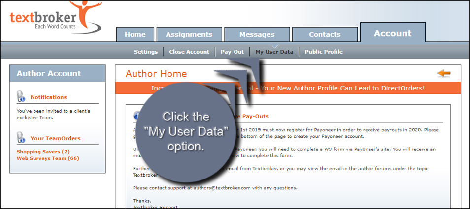 Textbroker My User Data Option
