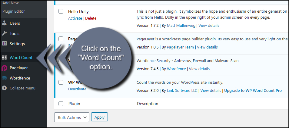 Word Count Option