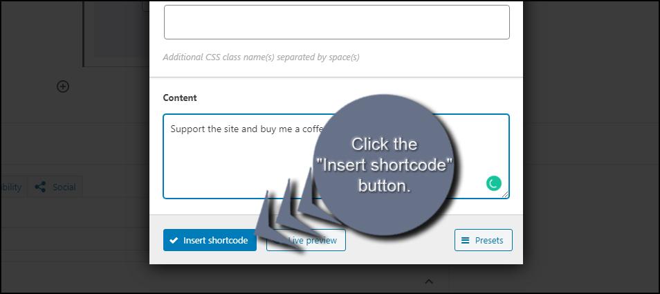 Insert Shortcode Button