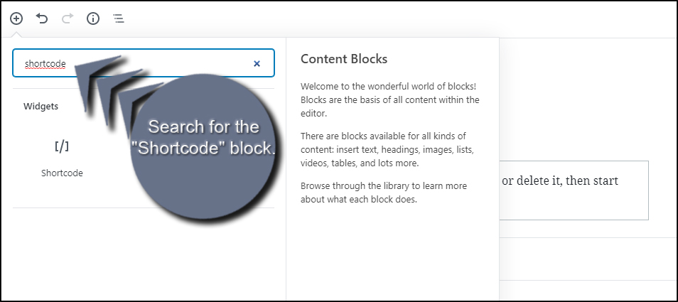 Shortcode Block Search