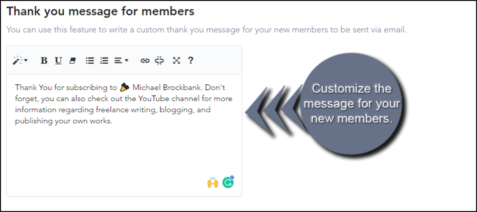 Custromize Member Message