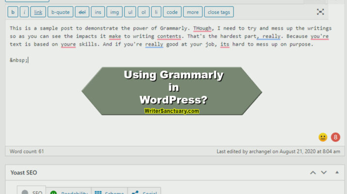Using Grammarly with WordPress
