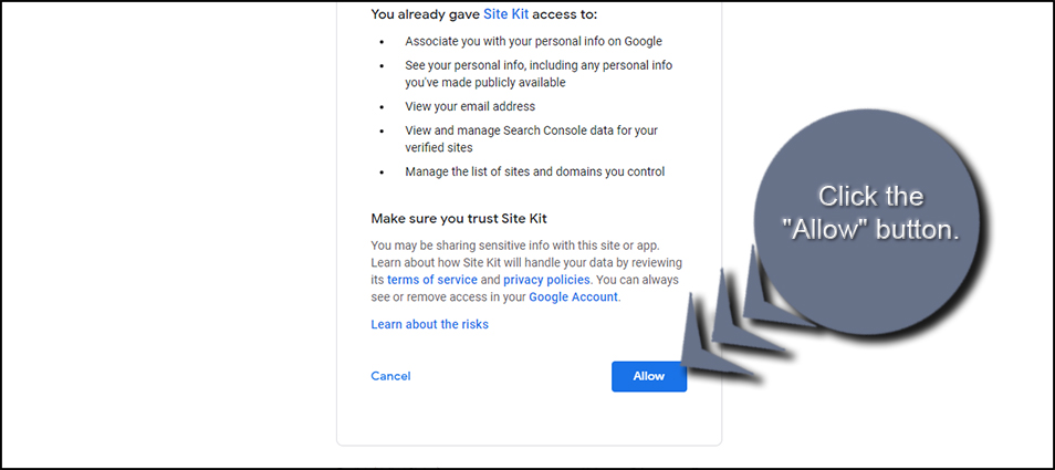 Allow Google Site Kit
