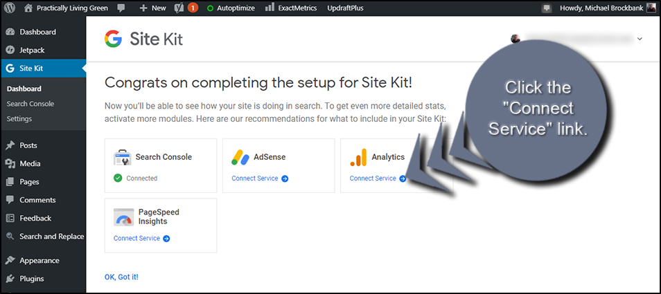 Connect Google Site Kit Service