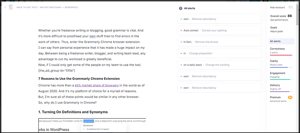Grammarly Chrome Assistant