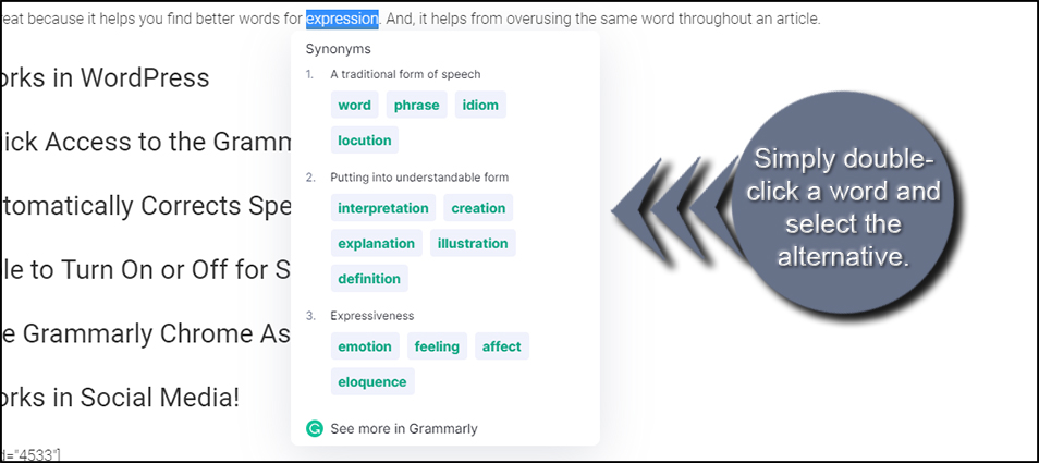 Grammarly Chrome Synonyms
