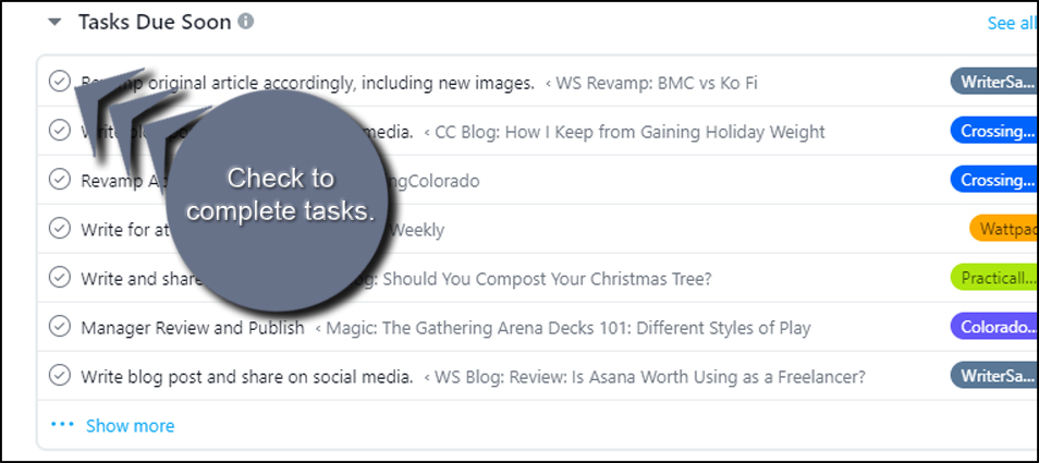 Check to Complete Tasks