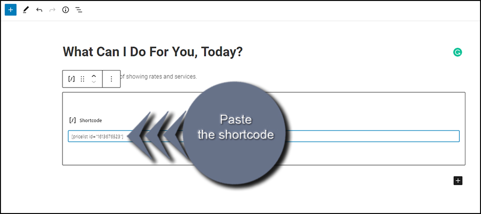 Paste the Shortcode