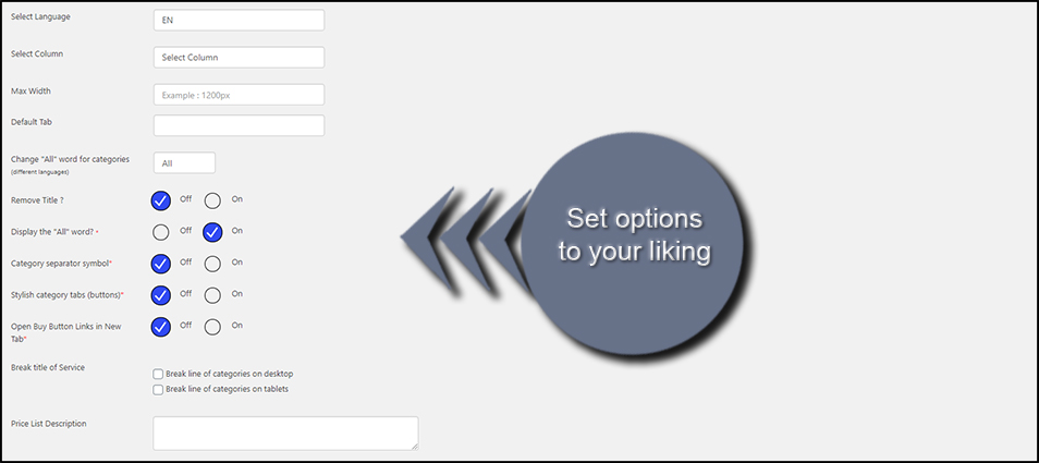 Set Options