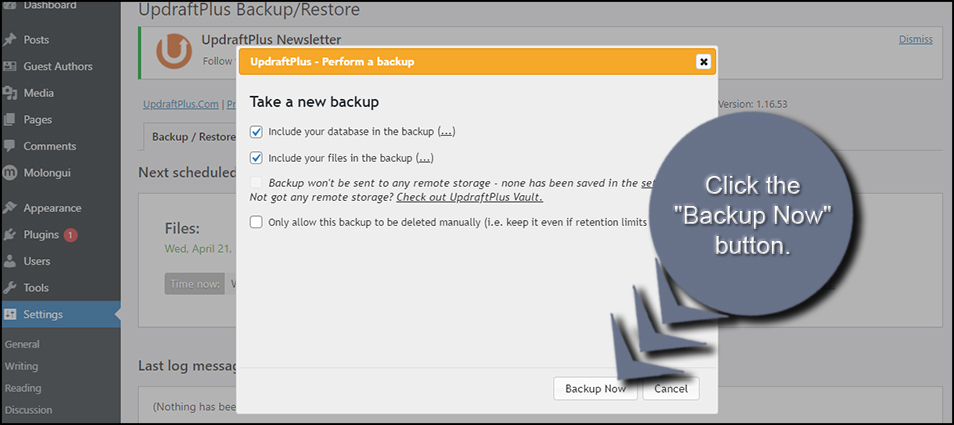 Create a New Backup