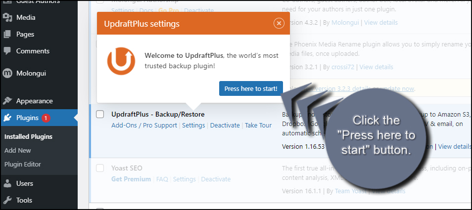 Setup WordPress Backup Plugin